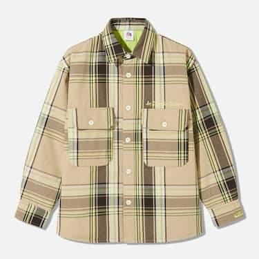 GU & Studio Seven「Honest College」Beige flannel shirt