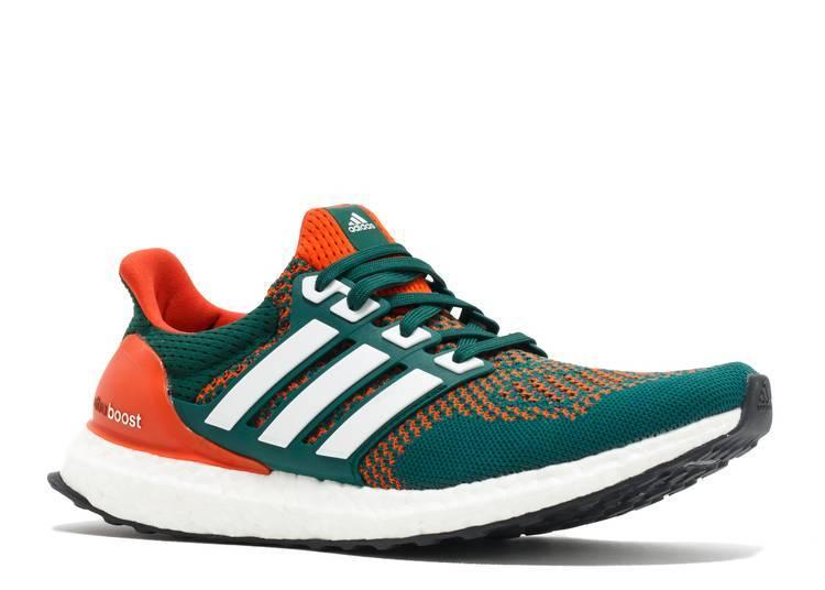 adidas UltraBoost 1.0 Miami Hurricanes orange and green colourway