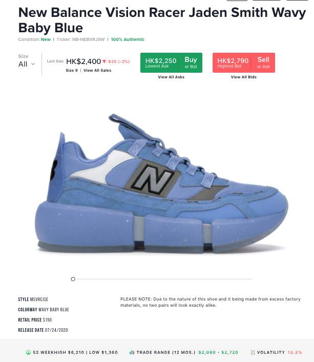 New Balance Vision Racer x Jaden Smith Wavy Baby Blue Colourway
