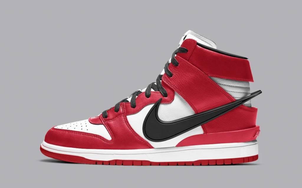 AMBUSH x Nike Dunk Hi Chicago Red and White Colourway