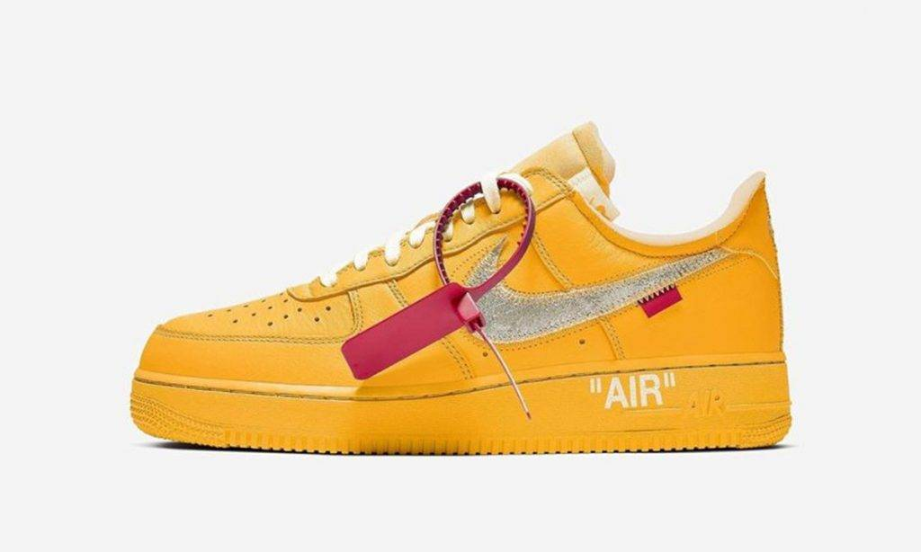 Nike Air Force 1 x Off-White University Gold colourway