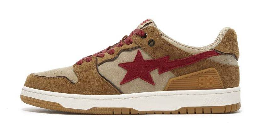 BAPE SK8 STA brown sand red colourway