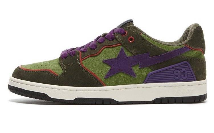 BAPE SK8 STA olive green purple colourway