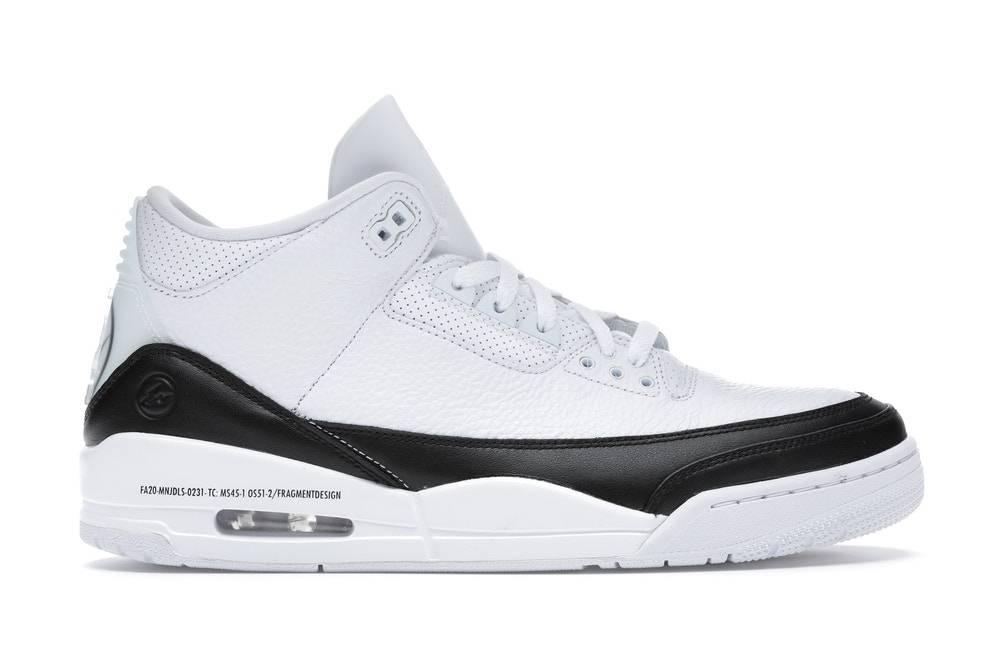 2020年fragment design x Air Jordan 3 Retro White and black colourway