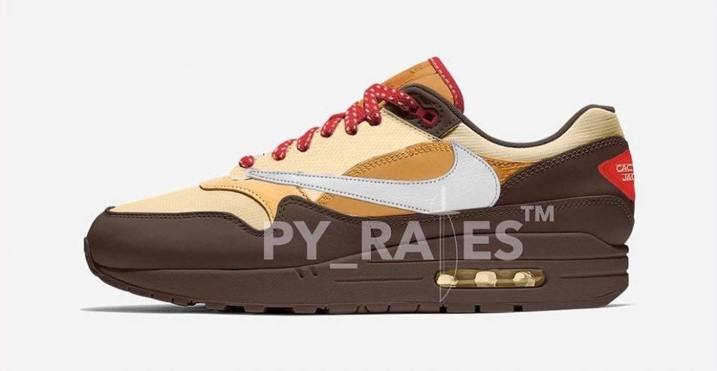 Nike x Travis Scott Air Max 1 Baroque Brown/Lemon Drop/Wheat/Chile Red