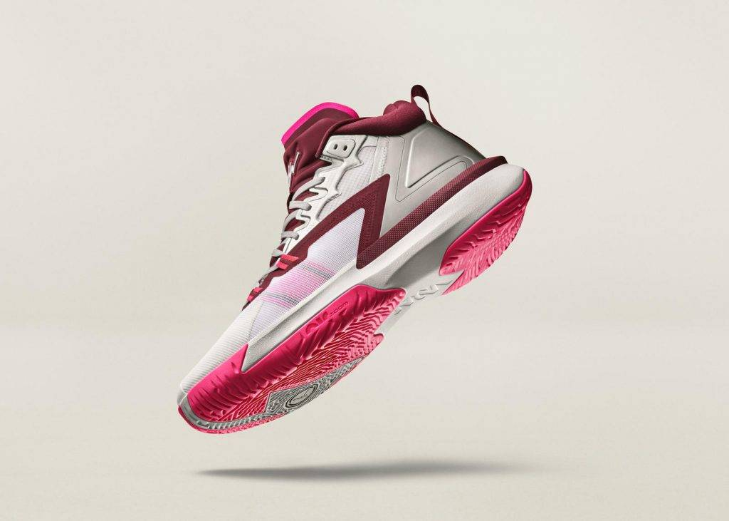 Zion Nike Jordan Brand Marion burgundy pink and white colourway