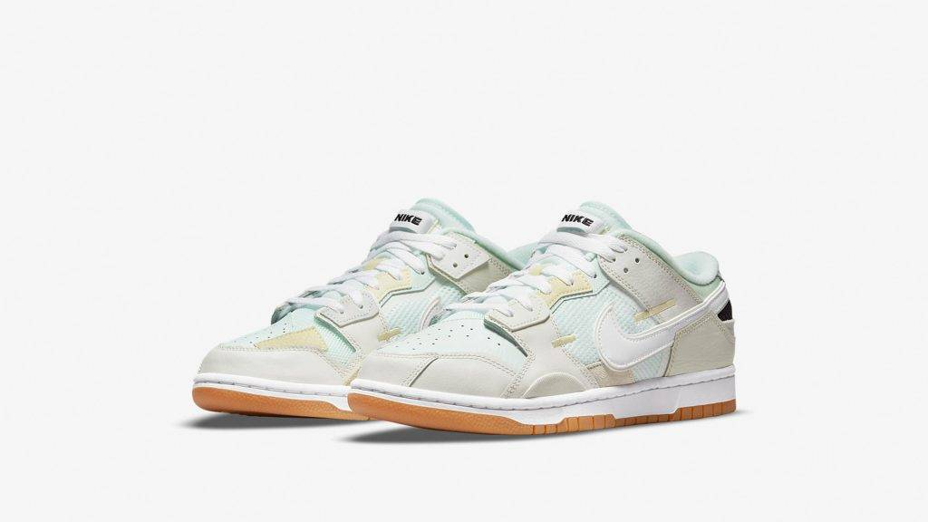 Nike Dunk Low Scrap Sea Glass mint green and white colourway