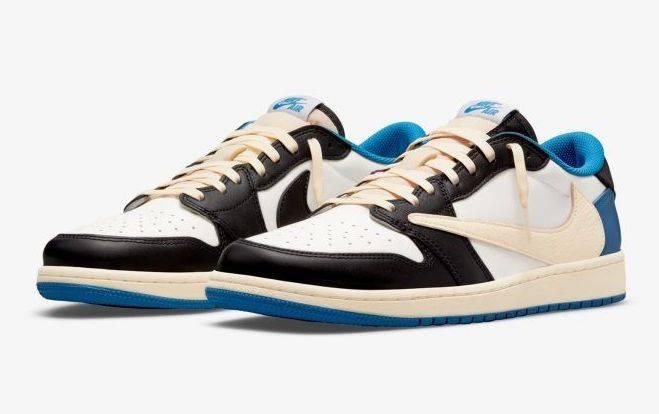 Travis Scott x fragment x Air Jordan 1 Low Blue and white reversed swoosh colourway